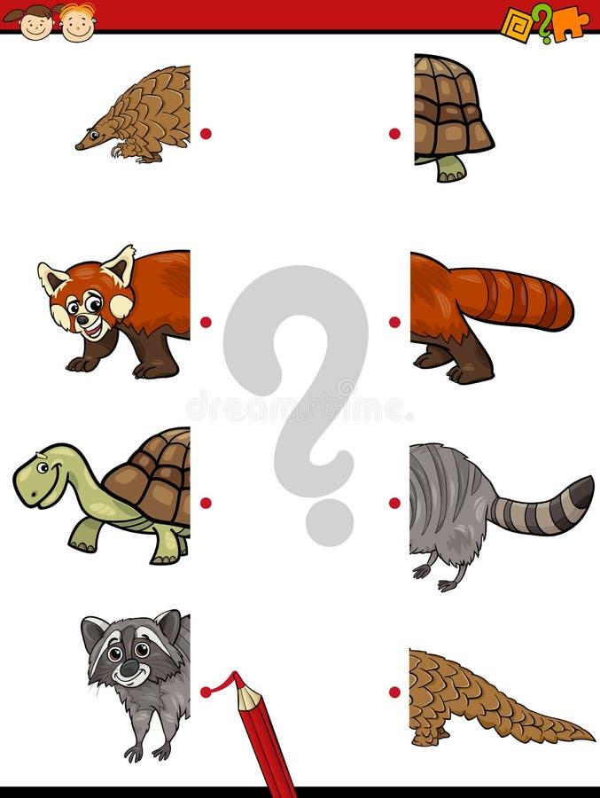 Game of halves for children vector illustration