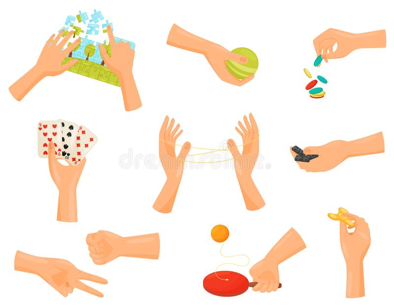 Game hand collection. Entertainment and dexterity arms. Game hand collection. Fun and playing. Deft hands concept. Home gambling. Entertainment and dexterity stock illustration