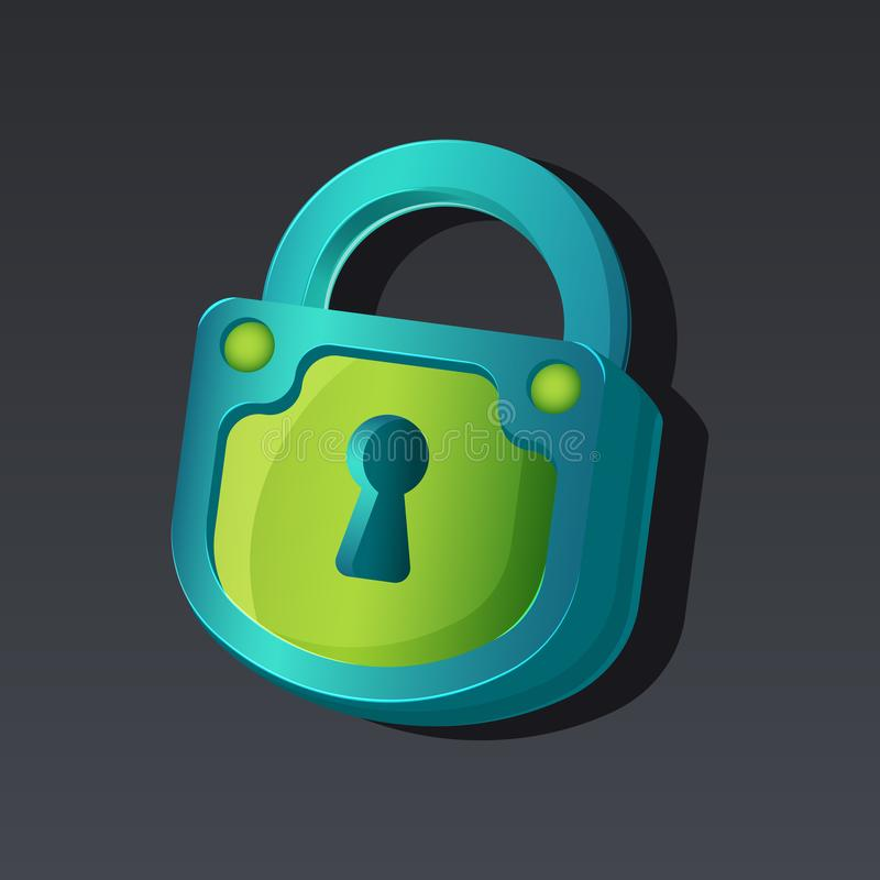 Game icon of padlock in cartoon style. Bright design for app user interface. Lock for surprise, hidden or locked object royalty free illustration