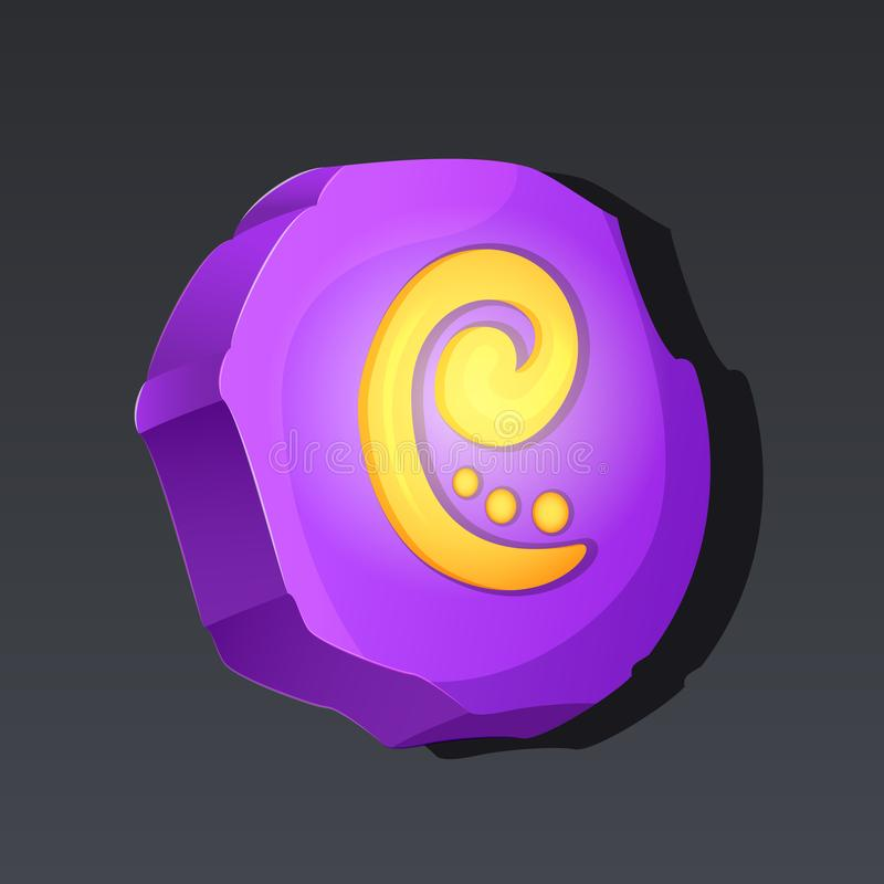 Game icon of runic stone in cartoon style. Bright design for app user interface. Magic stone of return, rune. Achievement, skill, spell, call, resurrection royalty free illustration