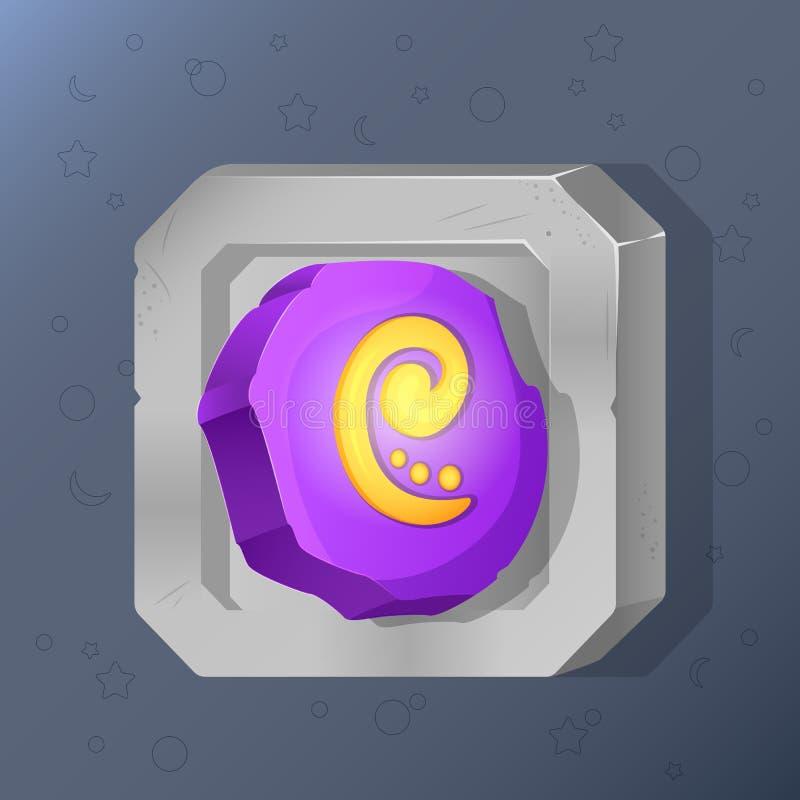 Game icon of runic stone in cartoon style. Bright design for app user interface. Magic stone of return, rune. Achievement, skill, spell, call, resurrection stock illustration