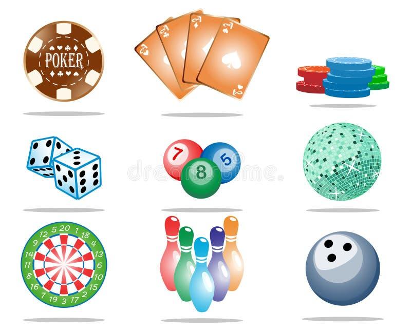 Game icon set stock photos