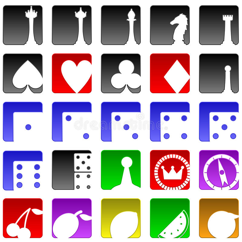 Game icons. Set of twenty five game and gambling related icons royalty free illustration