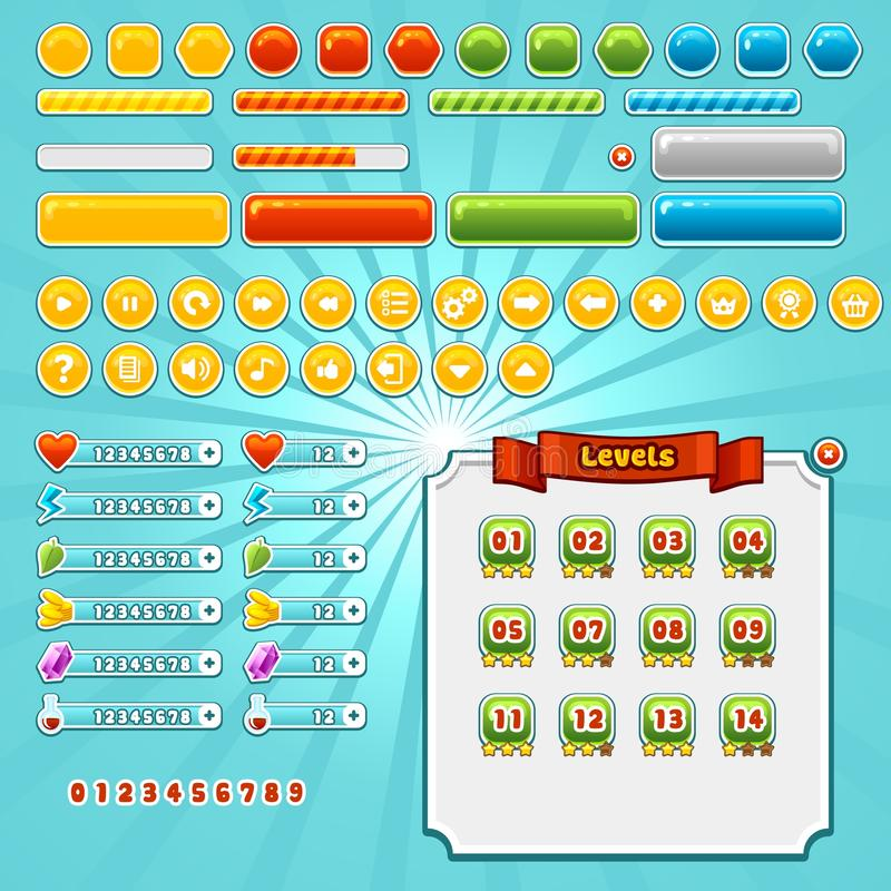 Game Interface Elements. Set, various buttons, progress bars and icons vector illustration