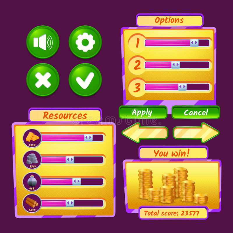 Game Interface Icons. Video game interface icons set with progress bars and buttons vector illustration stock illustration