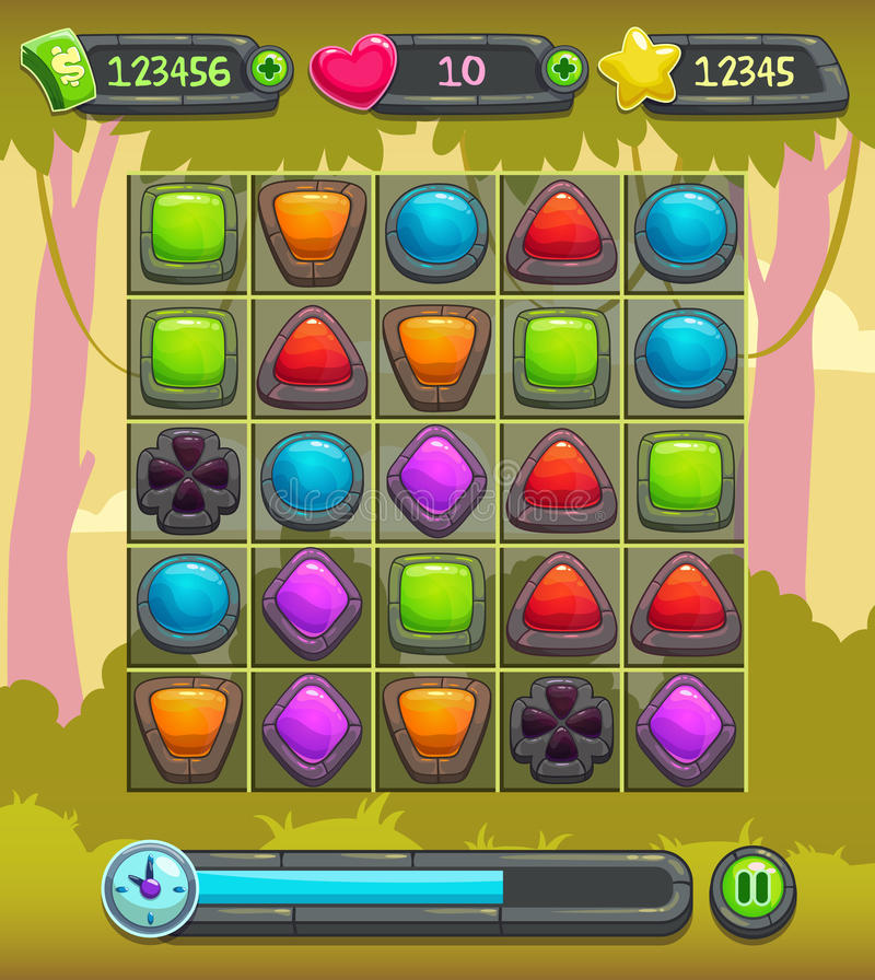Game interface screen. Including gui elements and background royalty free illustration