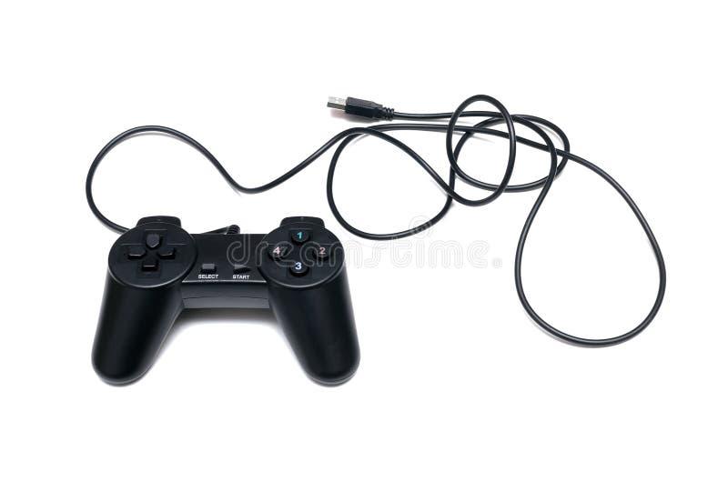 Game joystick. Black game usb joystick isolated on white background royalty free stock images