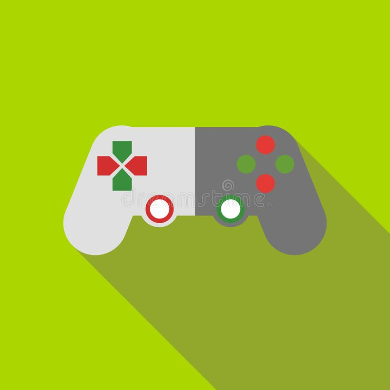 Game joystick icon, flat style. Game joystick icon in flat style on a green background stock illustration