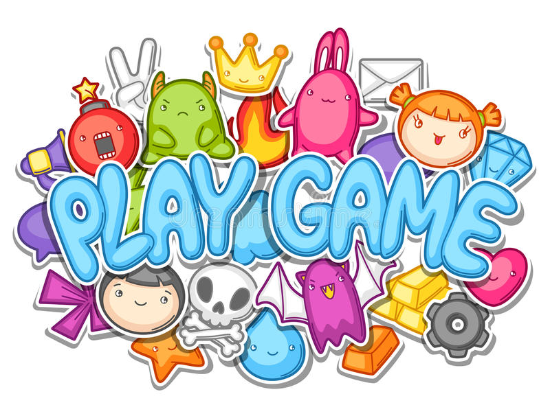 Game kawaii design. Cute gaming elements, objects and symbols stock illustration