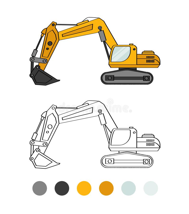 Game for kids. Backhoe line illustration. The coloring book for preschool kids with simple educational gaming level. Special equipment stock illustration