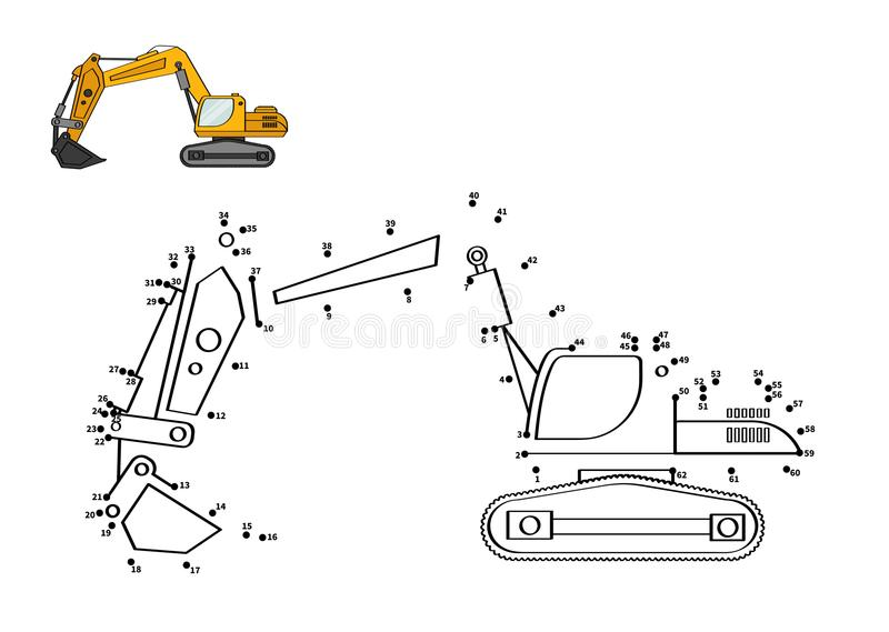 Game for kids. Special equipment. Backhoe. Connect the dot and color. Game for preschool kids with simple educational gaming level stock illustration