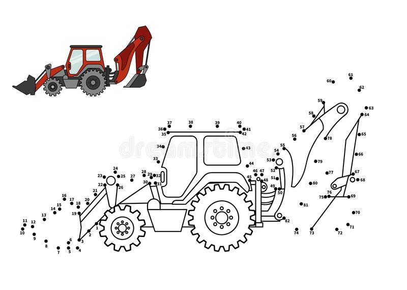 Game for kids. Special equipment. Backhoe loader. Connect the dot and color. Game for preschool kids with simple educational gaming level stock illustration