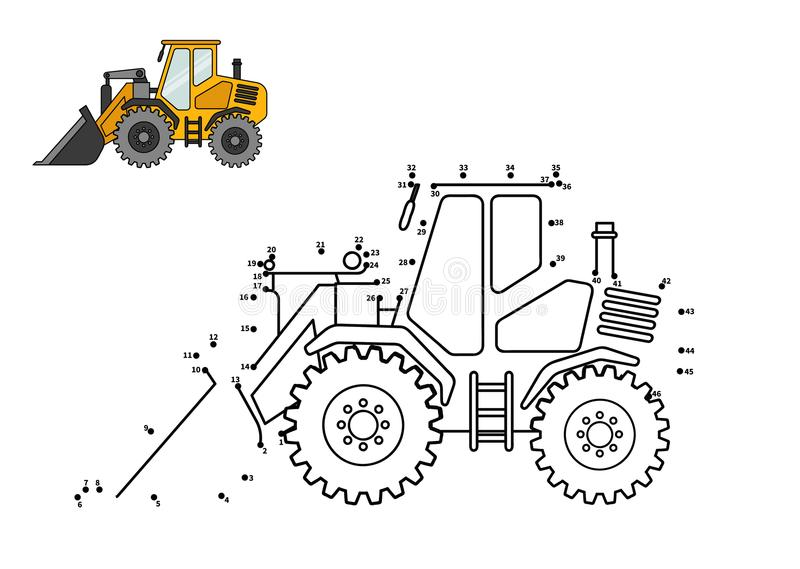 Game for kids. Special equipment. Bulldozer. Connect the dot and color. Game for preschool kids with simple educational gaming level stock illustration
