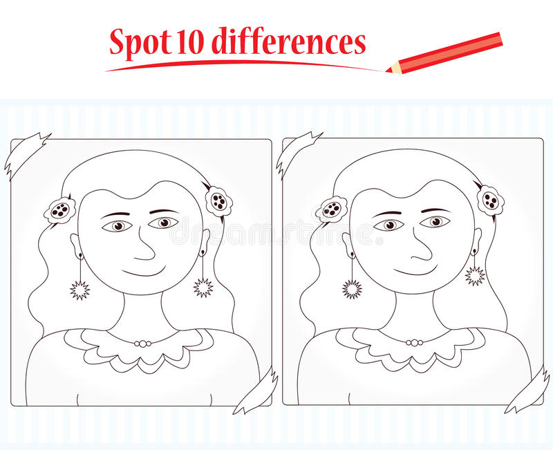 Game for kids: spot 10 differences stock illustration