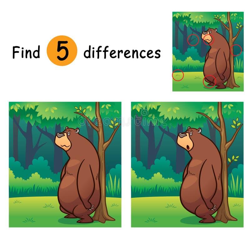 Game For Kids. Vector Illustration of Game for children find differences - Bear royalty free illustration