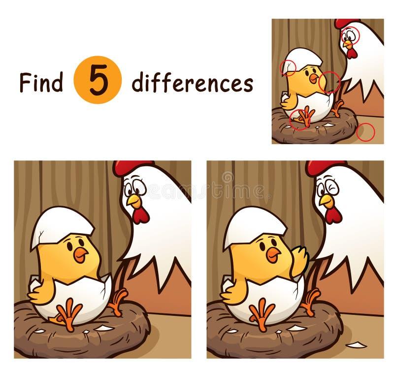 Game For Kids. Vector Illustration of Game for children find differences - Chick stock illustration