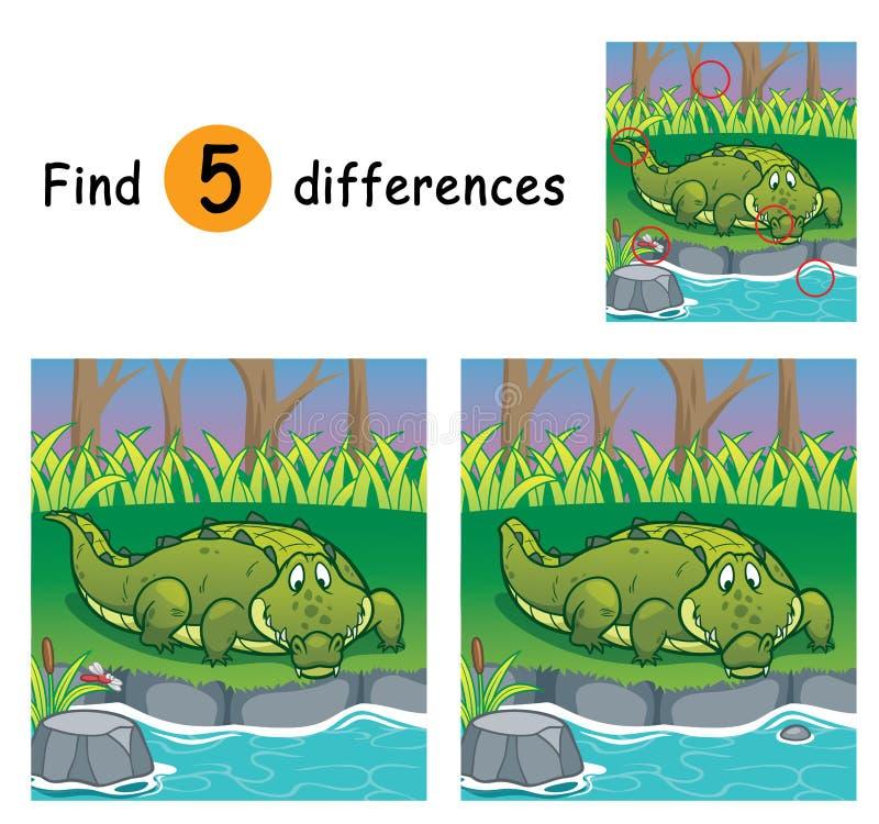 Game For Kids. Vector Illustration of Game for children find differences - Crocodile vector illustration