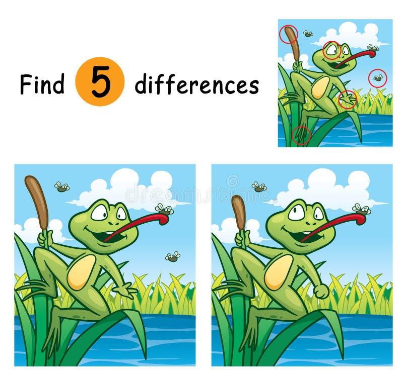 Game For Kids. Vector Illustration of Game for children find differences - Frog stock illustration