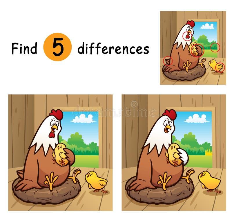 Game For Kids. Vector Illustration of Game for children find differences - Hen stock illustration