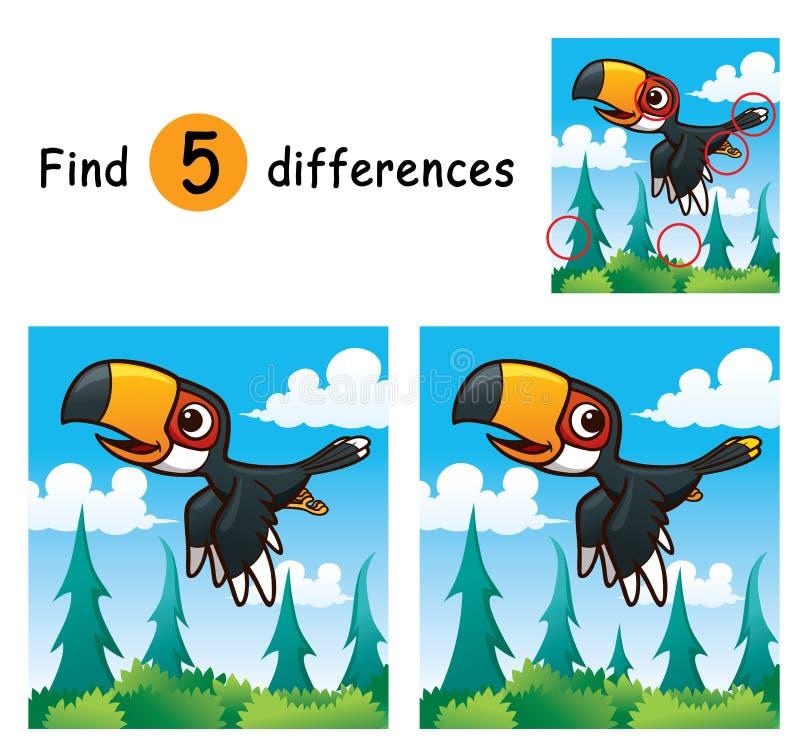 Game For Kids. Vector Illustration of Game for children find differences - Hornbill royalty free illustration