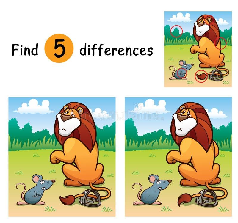 Game For Kids. Vector Illustration of Game for children find differences - Lion royalty free illustration