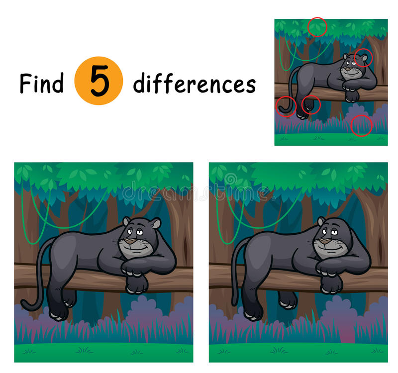 Game For Kids. Vector Illustration of Game for children find differences - Panther royalty free illustration