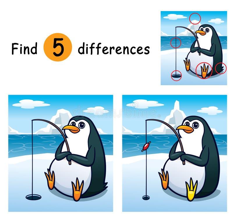 Game For Kids. Vector Illustration of Game for children find differences - Penguin stock illustration