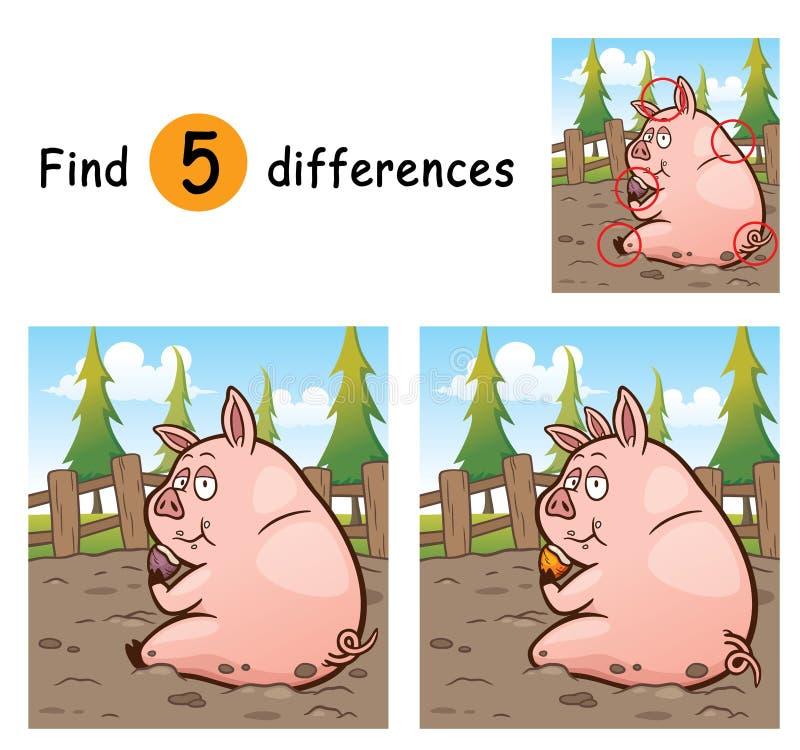 Game For Kids. Vector Illustration of Game for children find differences - Pig stock illustration