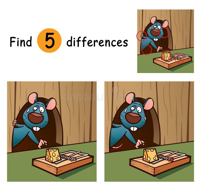 Game For Kids. Vector Illustration of Game for children find differences - Rat royalty free illustration