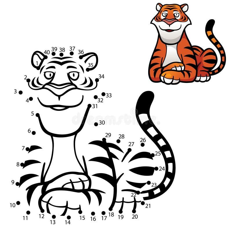 Game For Kids. Vector Illustration of Education dot to dot game - Tiger royalty free illustration