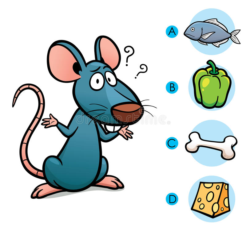 Game For Kids. Vector Illustration of make the right choice connect animal with their food - Rat