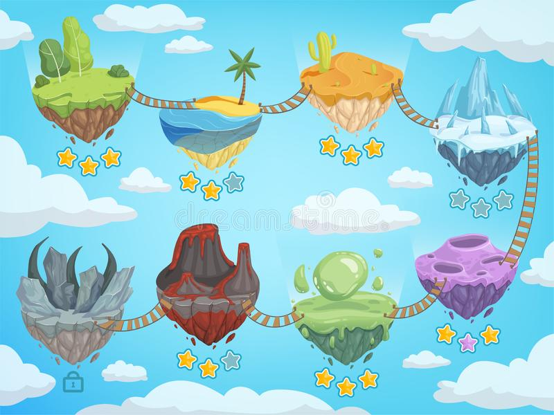 Game level map. Mobile ui stages with various isometric islands with rock grass ice water and volcano vector template. Game platform with rock and mountain stock illustration
