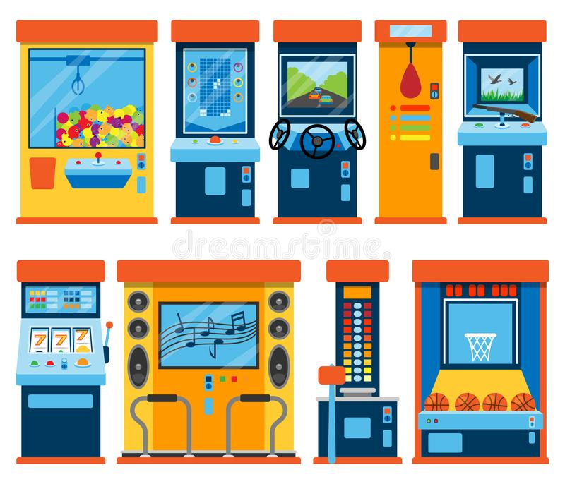 Game machine arcade vector gambling games in casino gamesome gambler or gamer bet in gaming computer machinery gameplay. Claw a toy or play old console set vector illustration