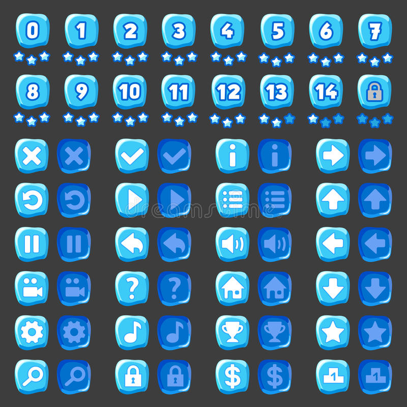 Game menu icons ice buttons vector illustration