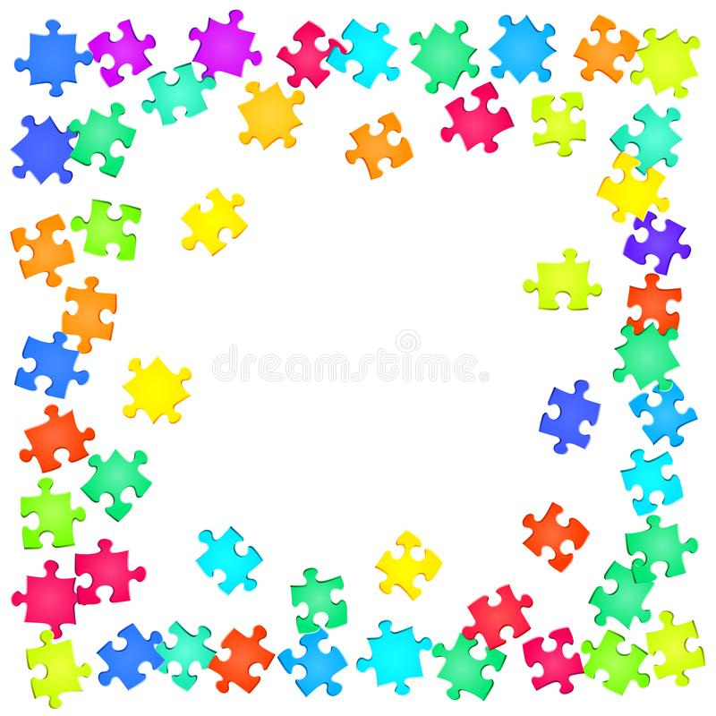 Game mind-breaker jigsaw puzzle rainbow colors. Parts vector illustration. Group of puzzle pieces isolated on white. Teamwork abstract concept. Jigsaw gradient vector illustration