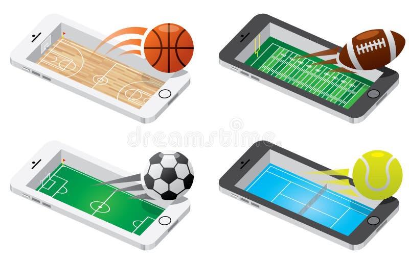 Game on mobile illustration set stock illustration