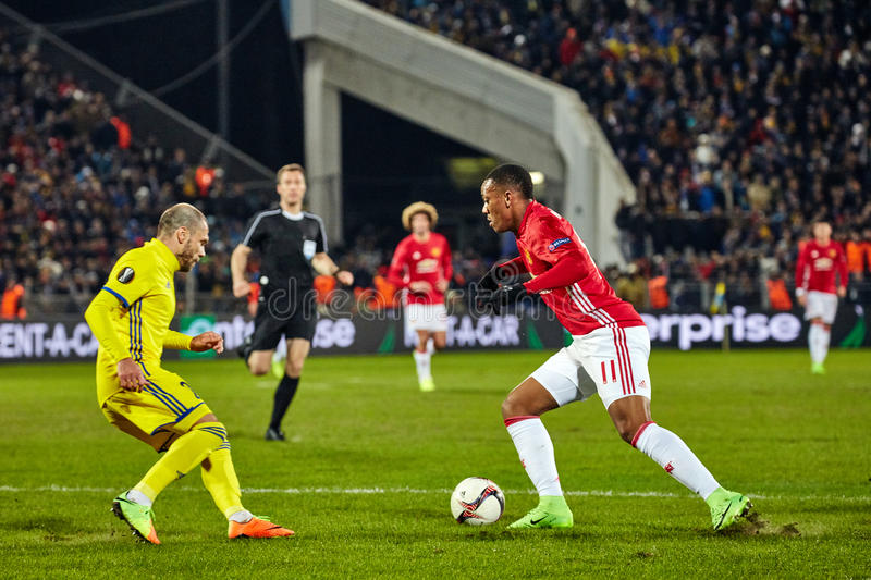 Game moments in match 1/8 finals of the Europa League. Between FC `Rostov` and `Manchester United`, 09 March 2017 in Rostov-on-Don, Russia royalty free stock photo