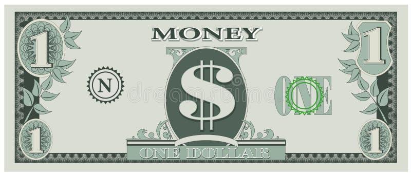 Game money - one dollar bill stock illustration