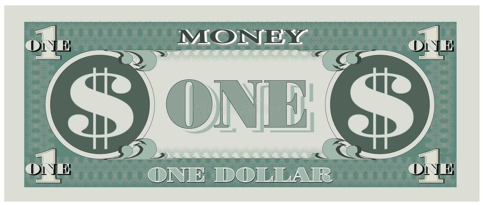Game money - one dollar bill. Illustration of game money dollar bill