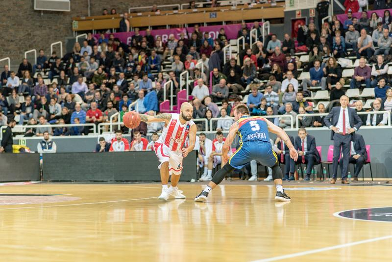 Game between Morabanc Andorra BC and Crvena Zvezda MTS Belgrado. stock photography