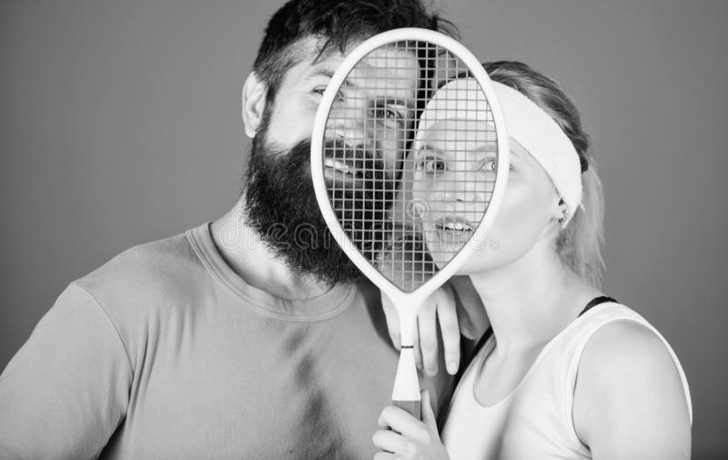 This game is more than hobby. Healthy lifestyle concept. Man and woman couple in love with tennis racket sport equipment. This game is more than hobby. Healthy stock photos