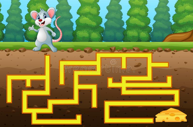 Game mouse maze find way to the cheese. Illustration of Game mouse maze find way to the cheese vector illustration