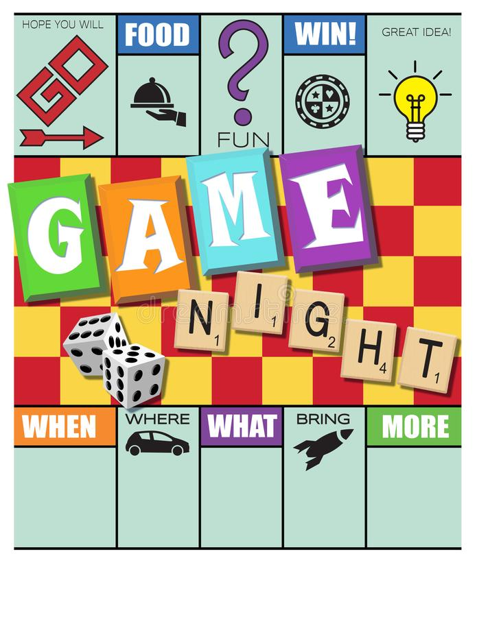 Game Night Invitation Monopoly Style with Scrabble and Dice vector illustration