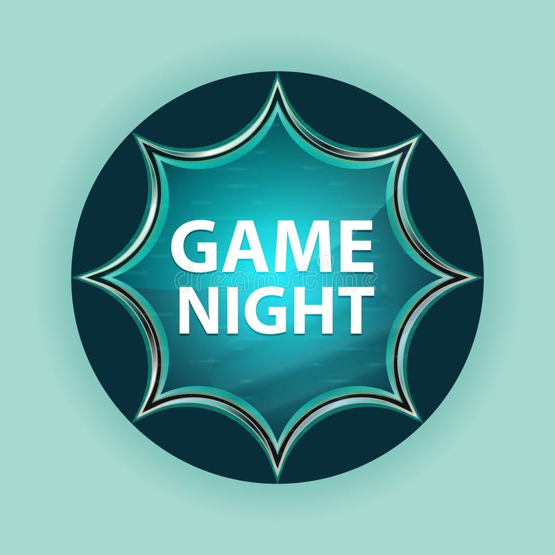 Game Night magical glassy sunburst blue button sky blue background. Game Night Isolated on magical glassy sunburst blue button sky blue background vector illustration