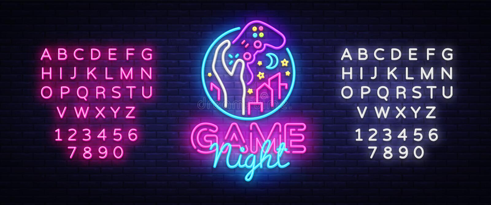 Game Night neon sign logo design template. Game night logo in neon style, gamepad in hand, video game concept, modern. Trend design, light banner, bright vector illustration