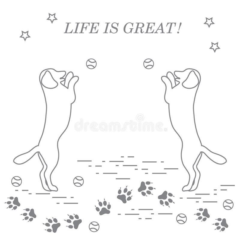 Free Game Of Pet. Silhouettes Of Dogs Jumping To Tennis Ball. Royalty Free Stock Image - 120012046