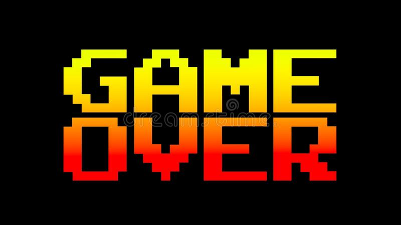 Game over 8bit funky. A funky colorful game over screen. 8 bit retro style, red and yellow vector illustration