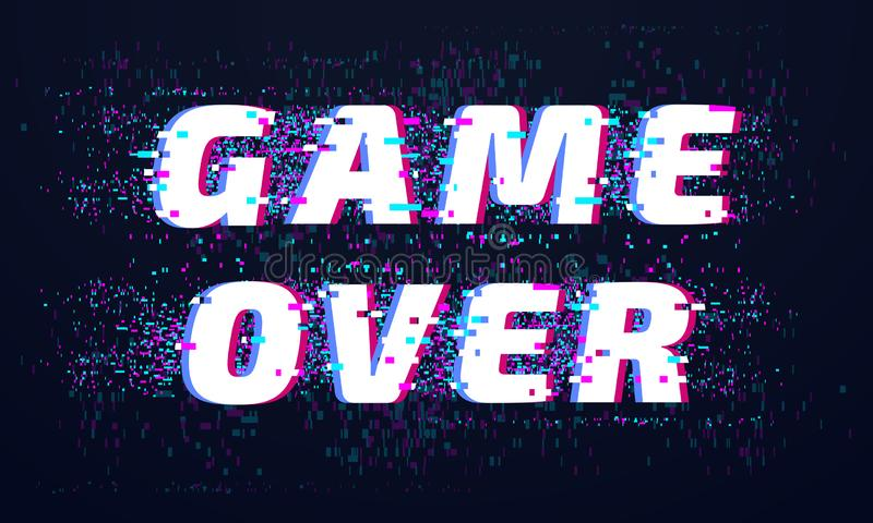 Game over. Games screen glitch, computer video gaming phrase and playing final level death screen with distorted text vector illustration