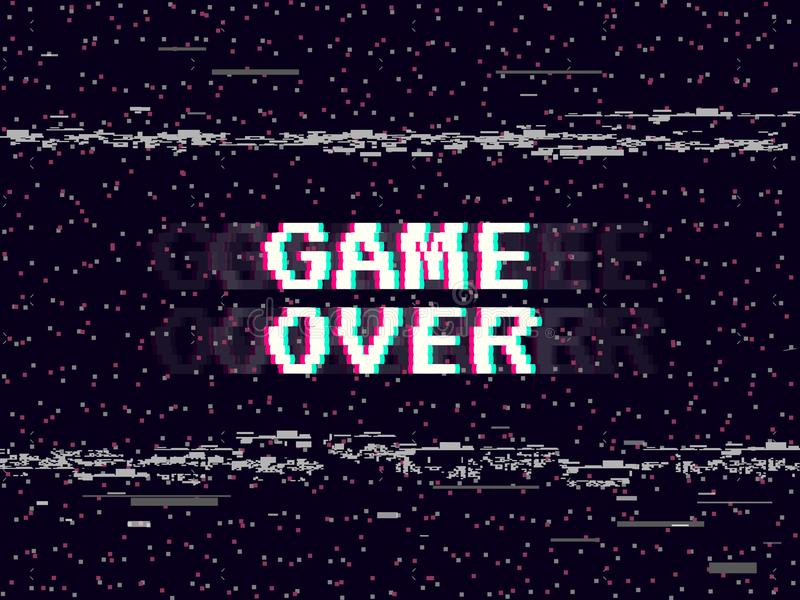 Game over glitch background. Retro game backdrop. Glitched lines noise. VHS effect for your design. Pixel inscription stock illustration