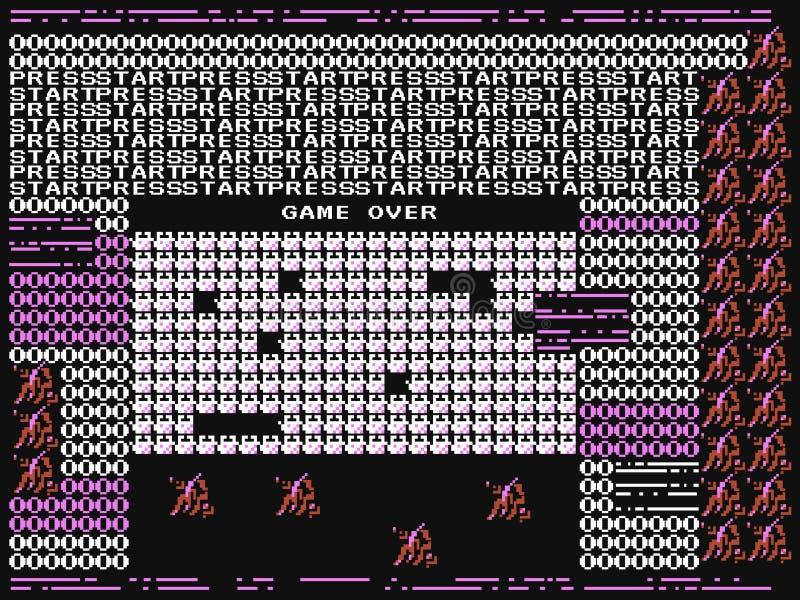 Game over glitch. Retro video game error. Computer crash. Trendy design. Old failure concept. Vector illustration royalty free illustration